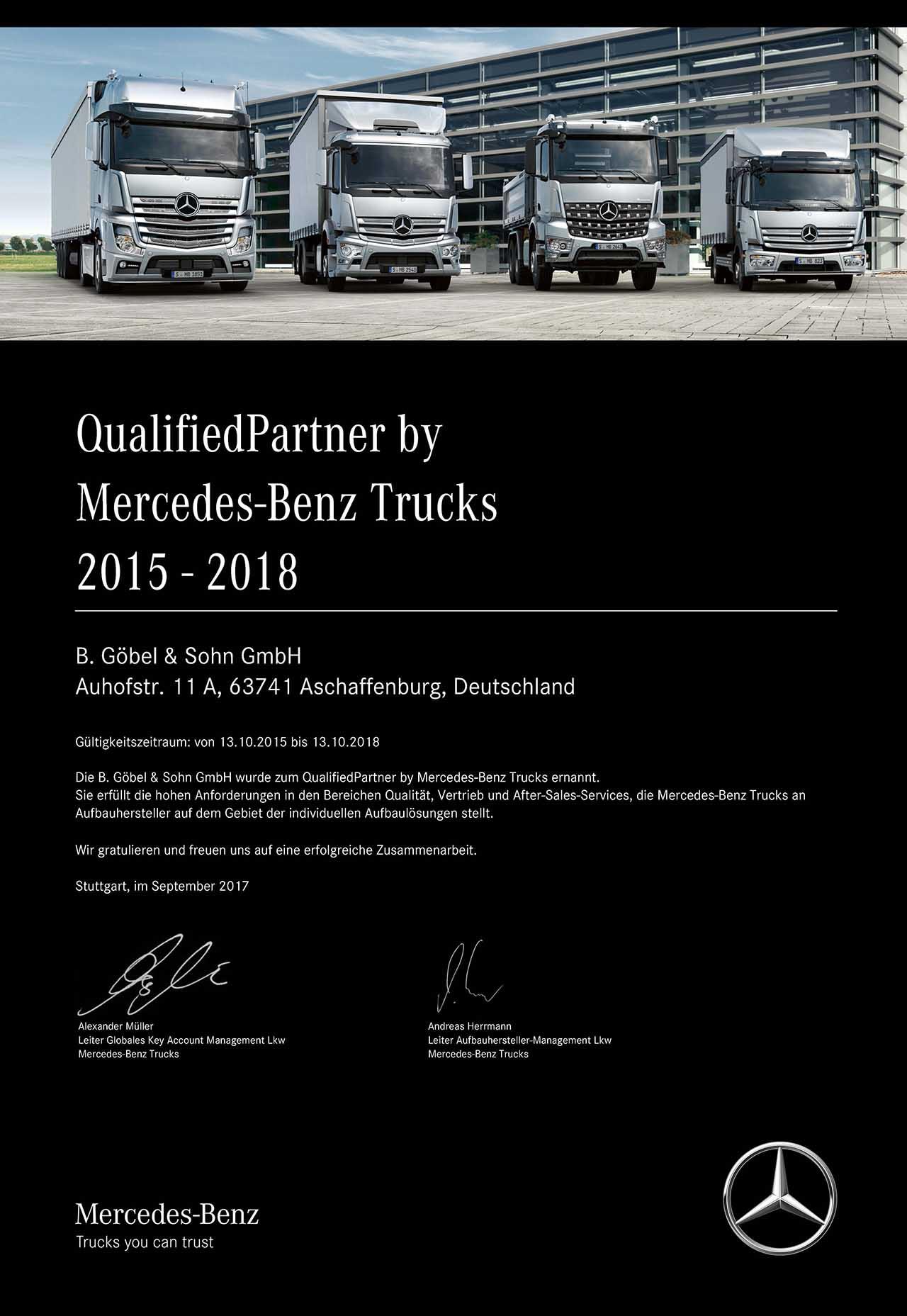 Abbildung der Zertifizierung von Mercedes-Benz Trucks