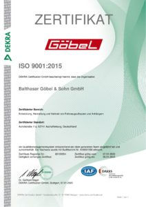 ISO9001 Zertifikat für Göbel